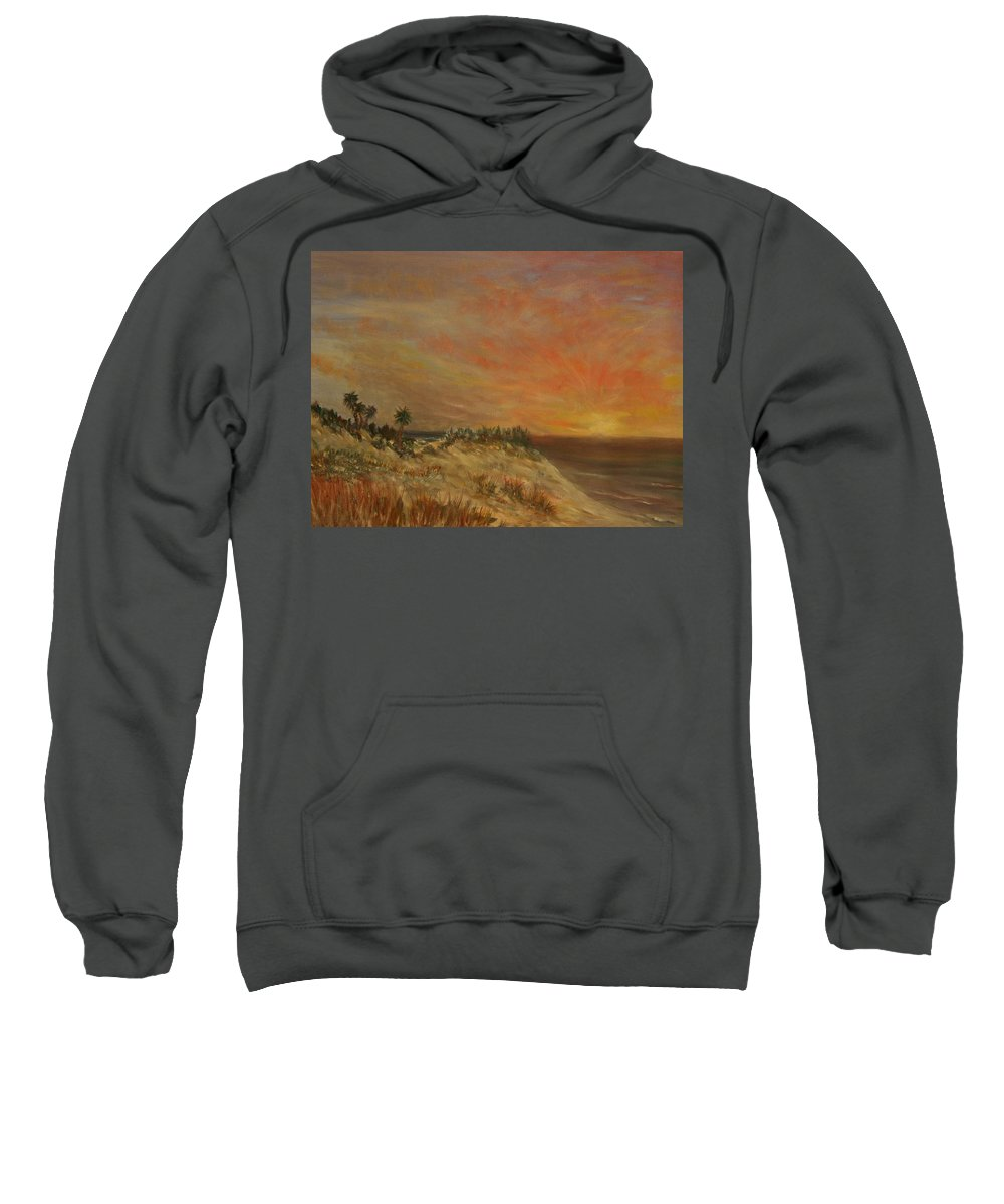 Sunset;beach;ocean;palm Trees Sweatshirt featuring the painting Island Sunset by Ben Kiger