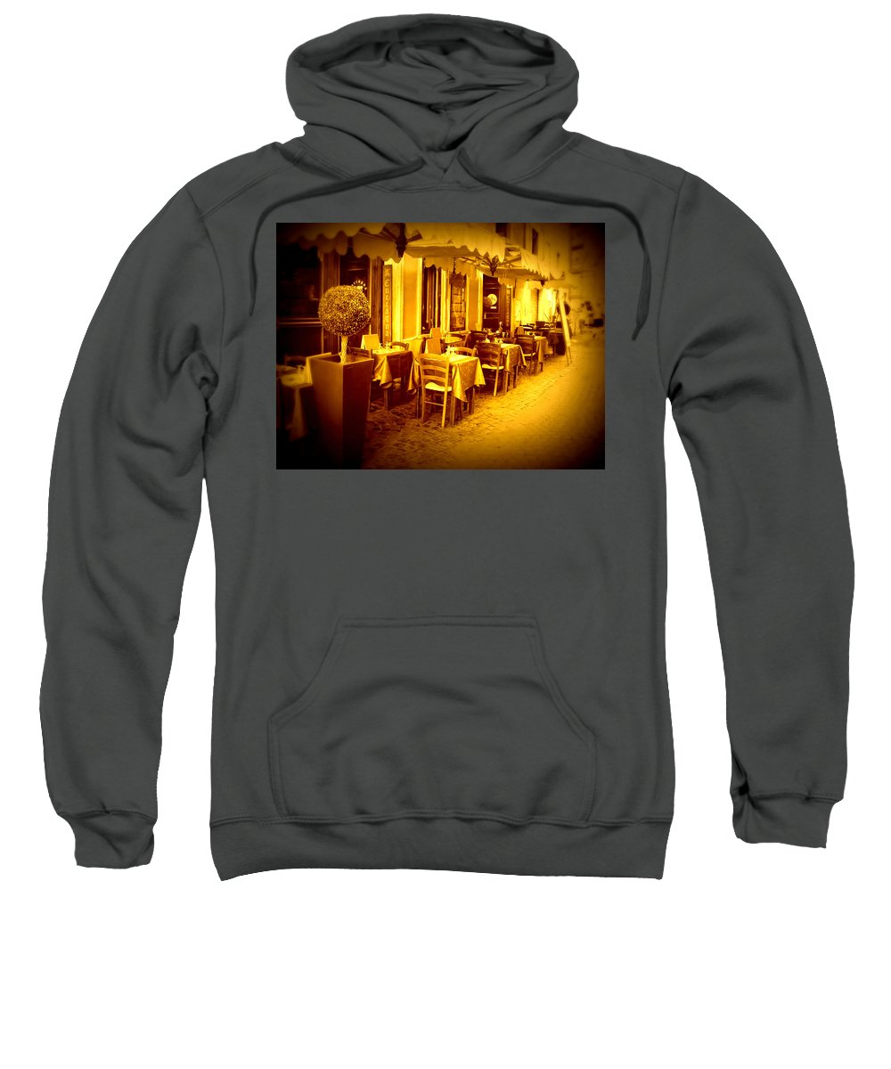 Italy Sweatshirt featuring the photograph Italian Cafe In Golden Sepia by Carol Groenen