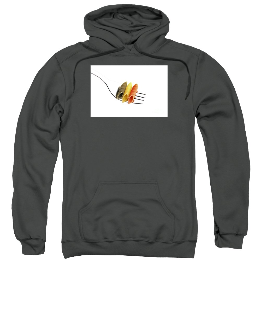 Pasta Sweatshirt featuring the photograph Italian Penne Pasta On A Fork by Francesco Perre