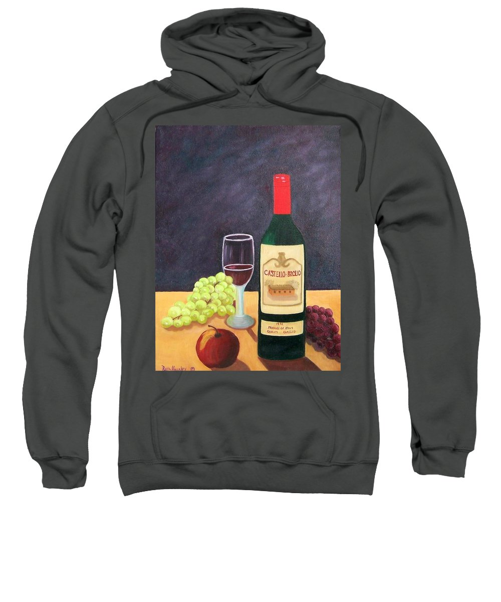 Still Life Sweatshirt featuring the painting Italian Wine And Fruit by Ruth Housley
