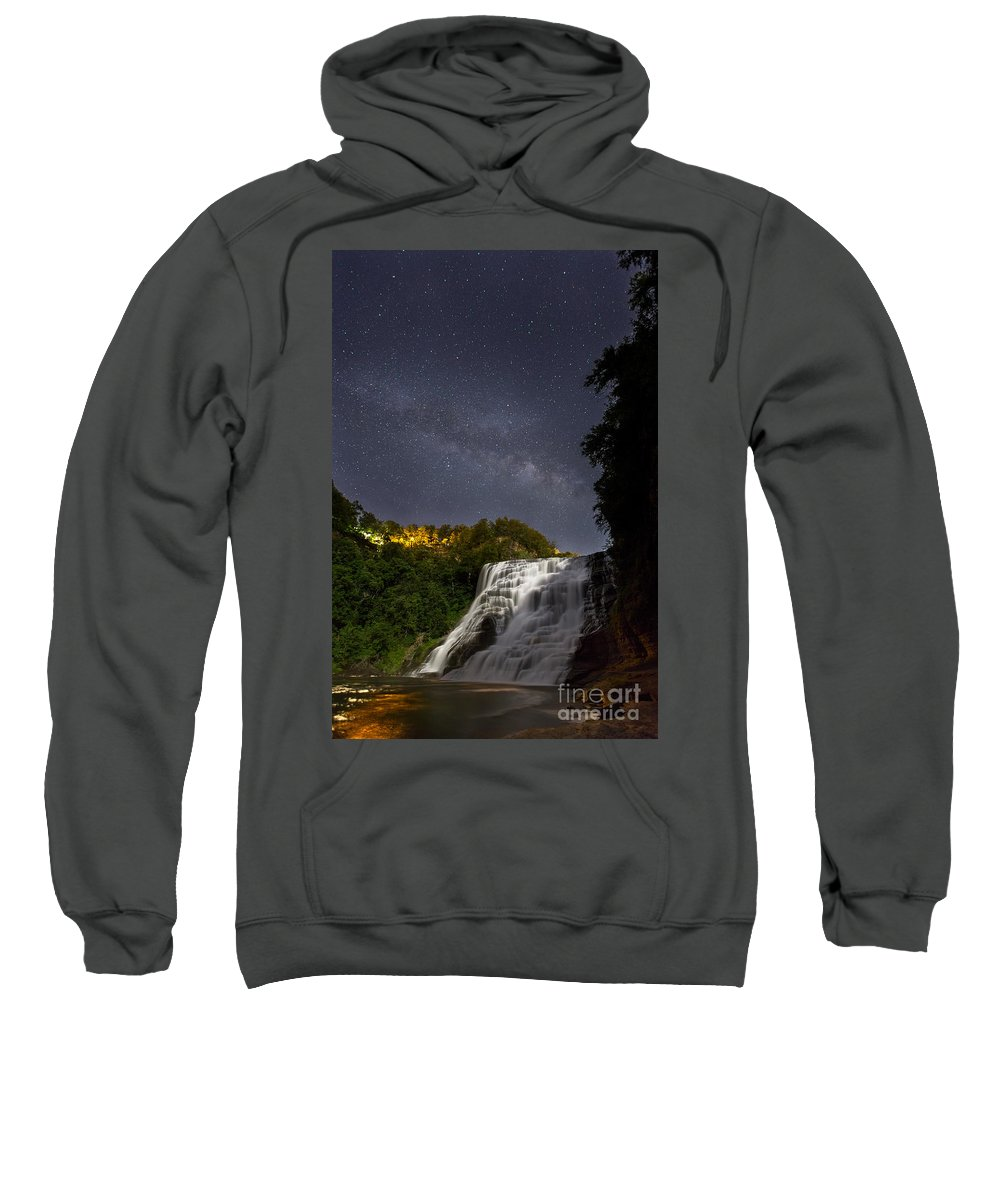 Michele Sweatshirt featuring the photograph Ithaca Falls By Moonlight by Michele Steffey