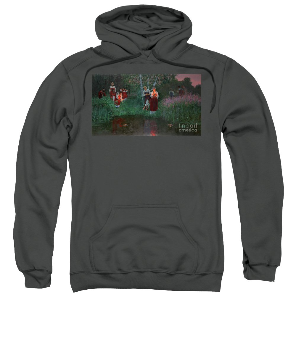 Girs Sweatshirt featuring the painting Ivan Kupala. Fortunetelling For Wreaths. by Simon Kozhin