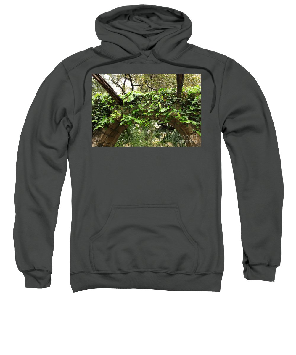 Ivy-covered Sweatshirt featuring the photograph Ivy-covered Arch At The Alamo by Carol Groenen