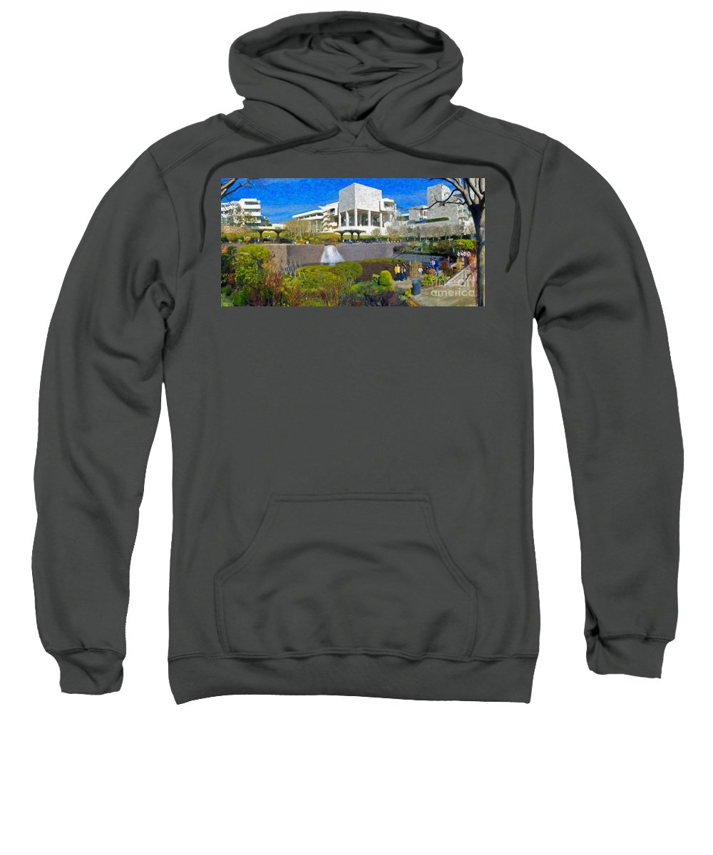 J Paul Getty Sweatshirt featuring the photograph J. Paul Getty Museum Central Garden Panorama by David Zanzinger