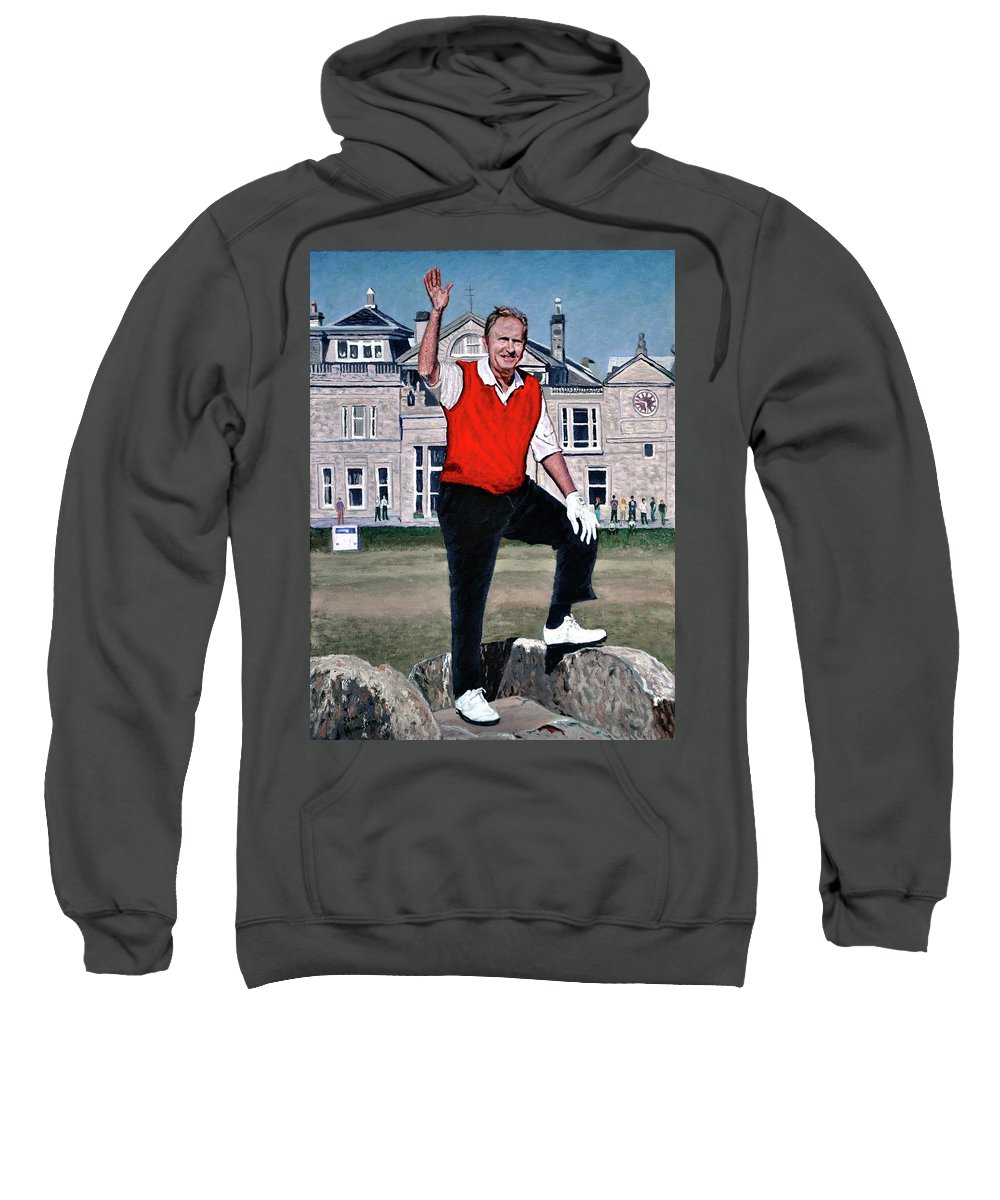 Jack Nicklaus Sweatshirt featuring the painting Jack Nicklaus by Stan Hamilton