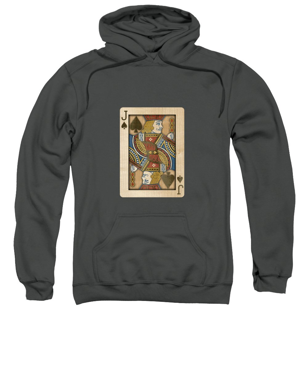 Boards Sweatshirt featuring the photograph Jack of Spades in Wood by YoPedro