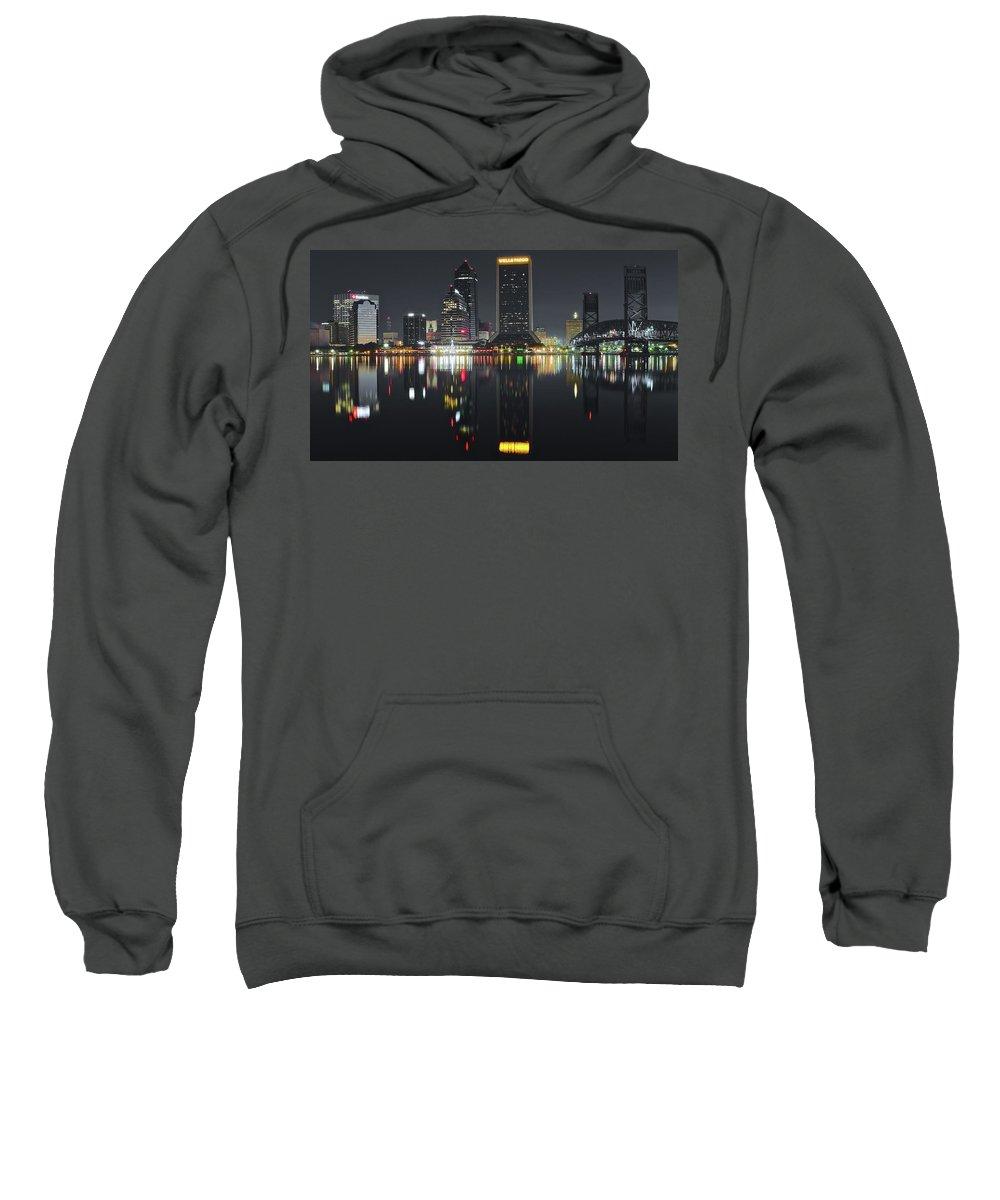 Jacksonville Sweatshirt featuring the photograph Jacksonville Black Night Lights by Skyline Photos of America
