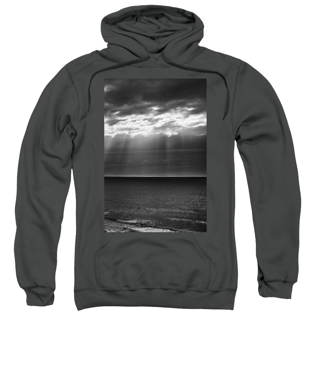 Dawn Storm Monochrome Black And White Sweatshirt featuring the photograph Jacobs Ladder At Dawn by Sheila Smart Fine Art Photography