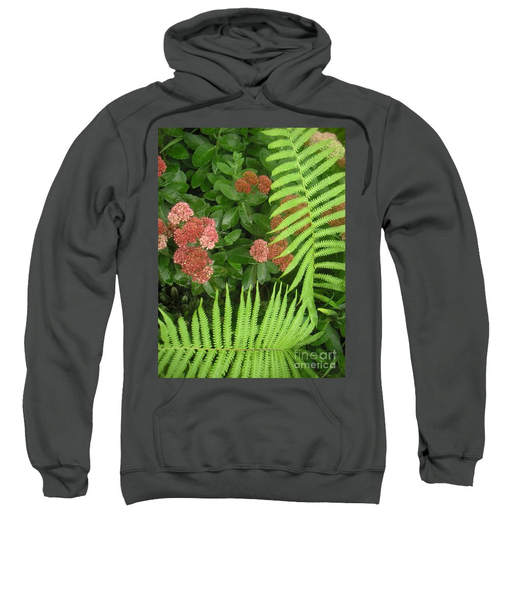 Nature Sweatshirt featuring the photograph Jacqueline's Garden - Camaraderie Of Textures Too by Lucyna A M Green