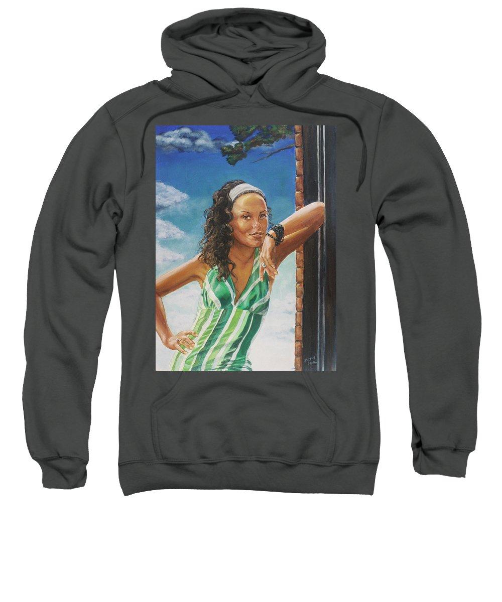 Jade Anderson Sweatshirt featuring the painting Jade Anderson by Bryan Bustard