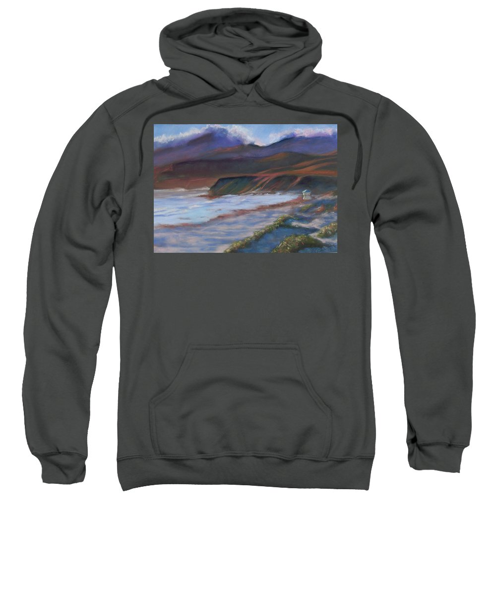 Jalama Beach. Sweatshirt featuring the pastel Jalama Beach At Sunset by Laurie Paci