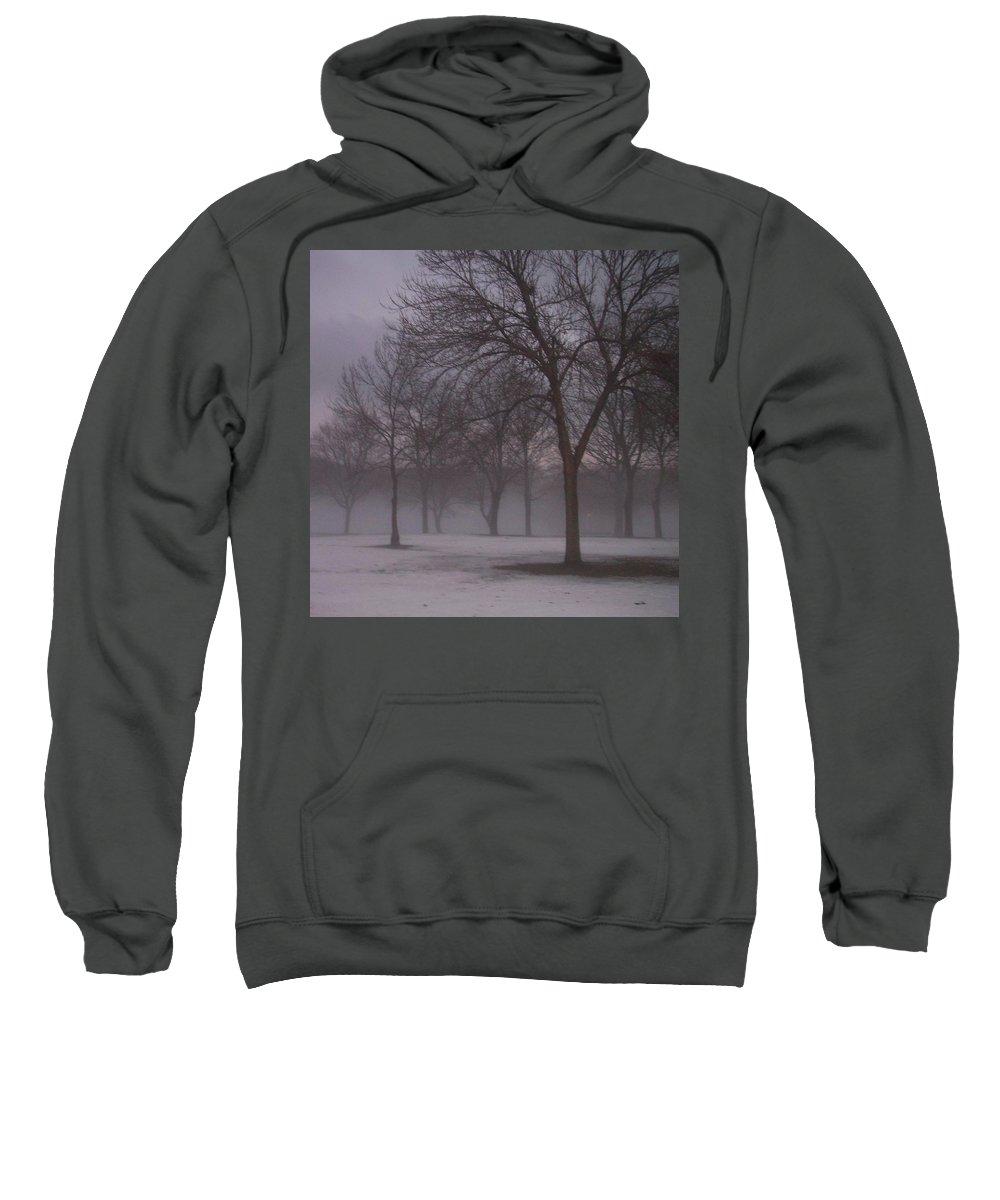 January Sweatshirt featuring the photograph January Fog 4 by Anita Burgermeister
