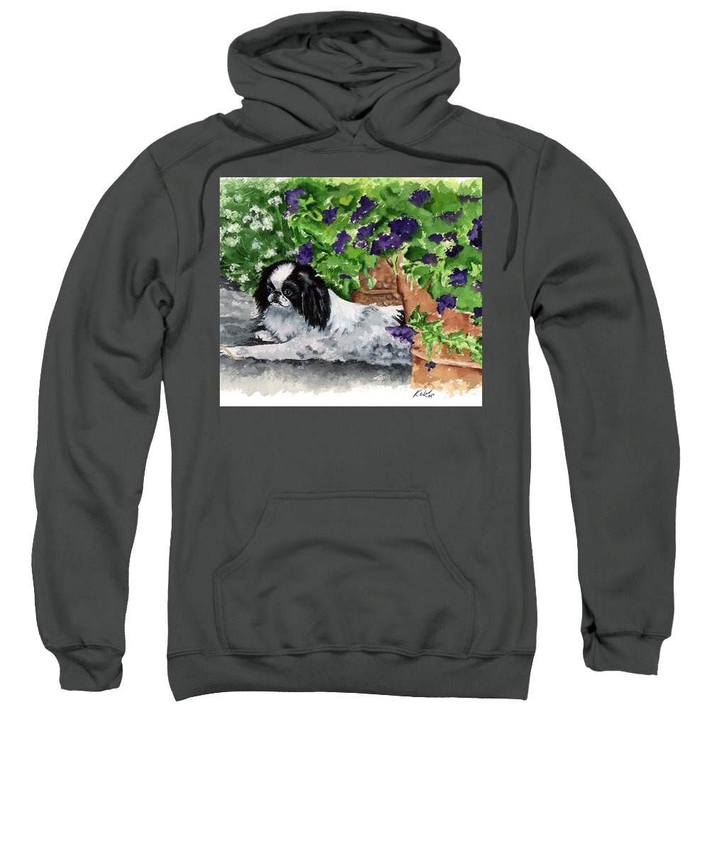 Japanese Chin Sweatshirt featuring the painting Japanese Chin Puppy And Petunias by Kathleen Sepulveda