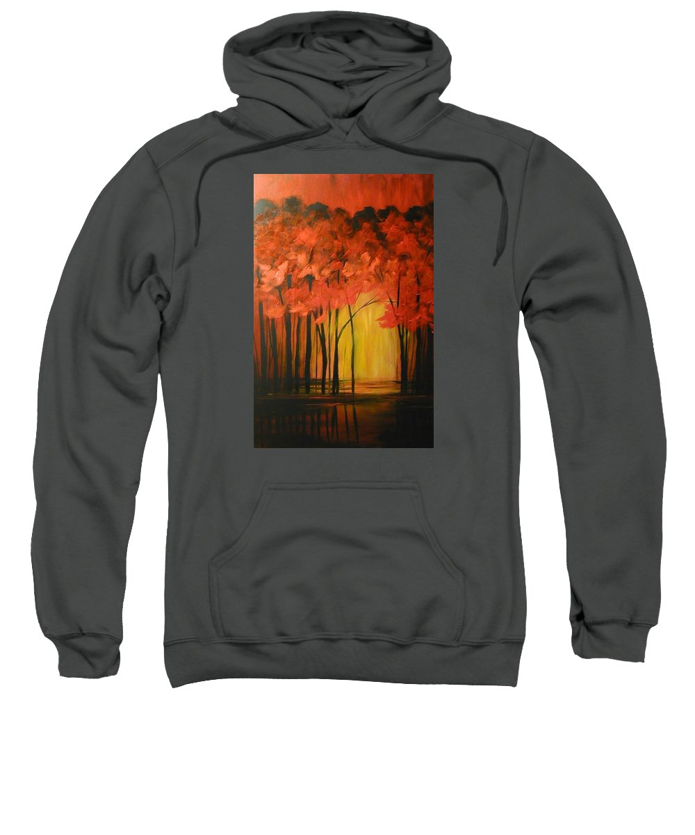 Abstract Sweatshirt featuring the painting Japanese Forest by Sabina Surya Naya