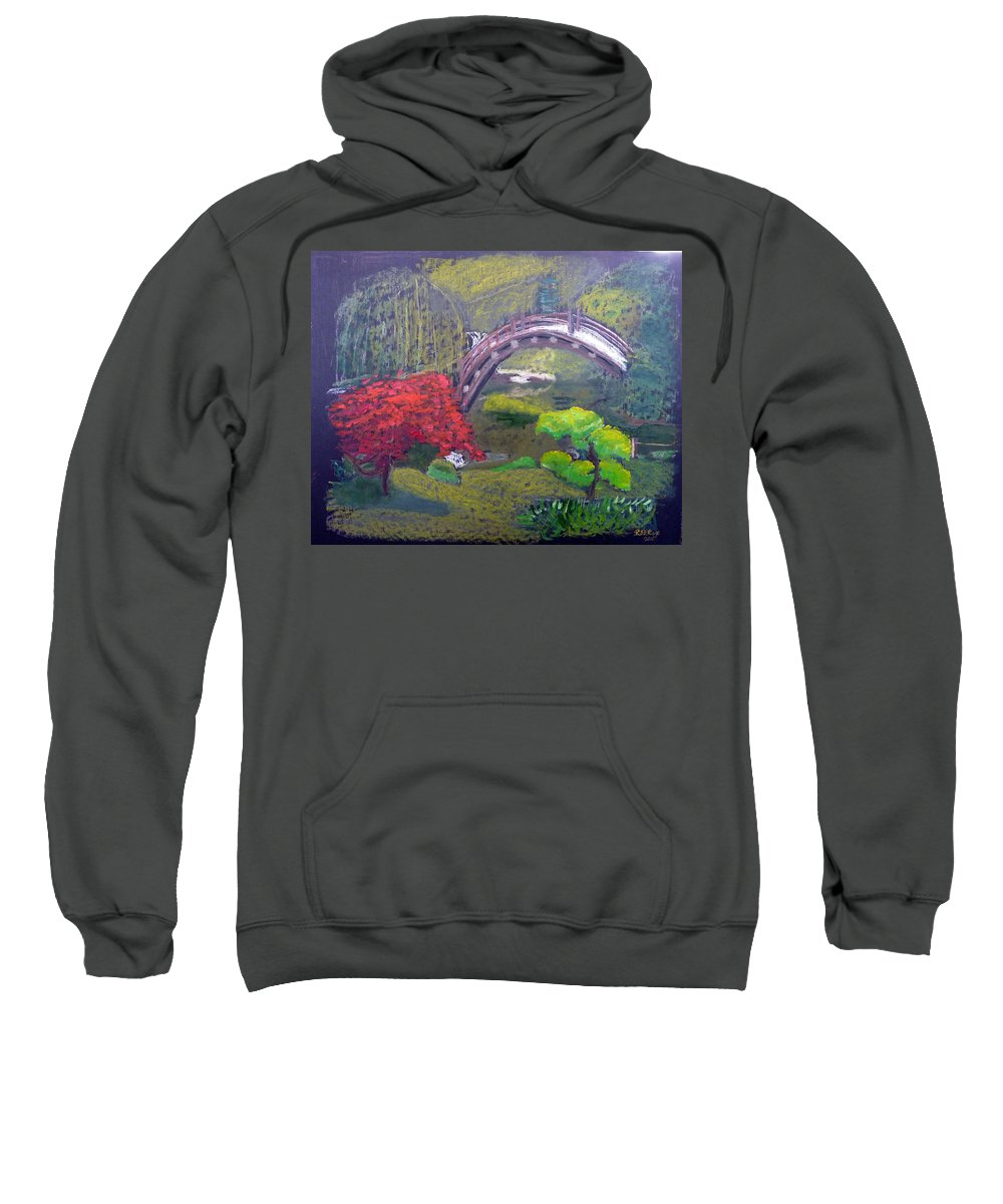 Japanese Garden Sweatshirt featuring the painting Japanese Garden by Richard Le Page
