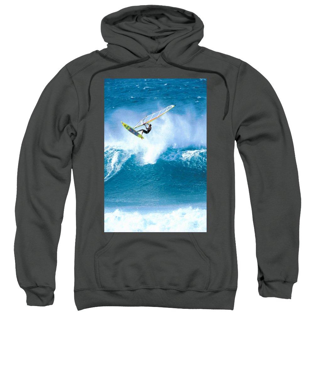 Adrenaline Sweatshirt featuring the photograph Jason Flies Over A Wave by Erik Aeder - Printscapes