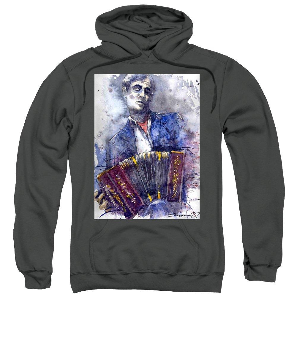 Jazz Sweatshirt featuring the painting Jazz Concertina Player by Yuriy Shevchuk