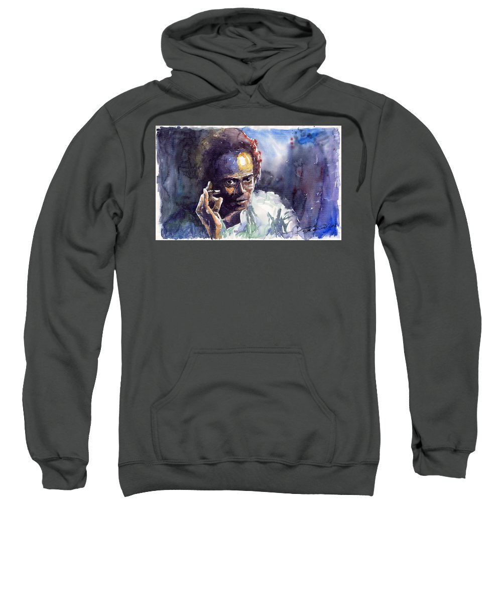 Jazz Watercolor Watercolour Miles Davis Portret Sweatshirt featuring the painting Jazz Miles Davis 11 by Yuriy Shevchuk