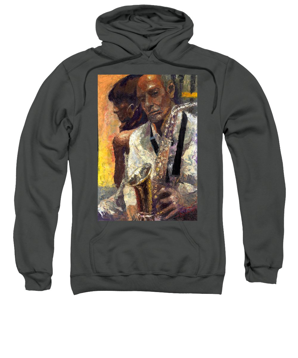 Jazz Sweatshirt featuring the painting Jazz Muza by Yuriy Shevchuk