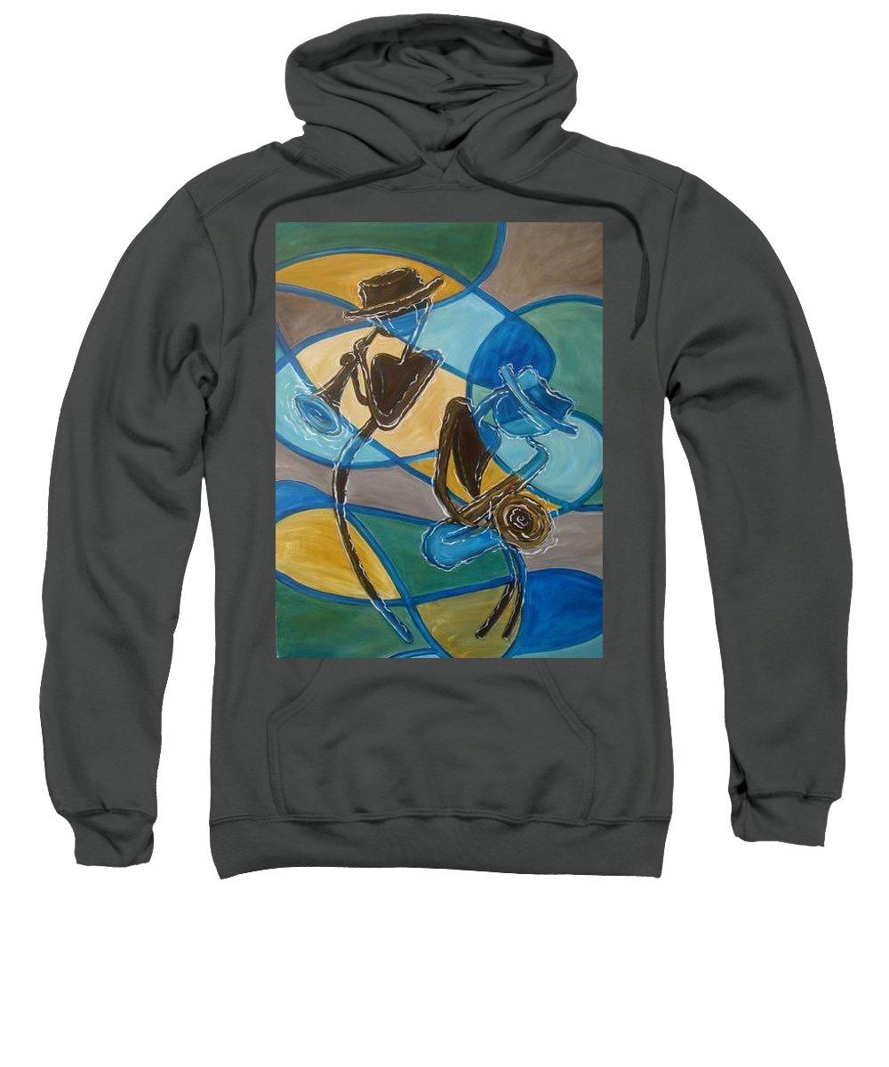 Jazz Sweatshirt featuring the painting Jazz Raz by Regina Walsh