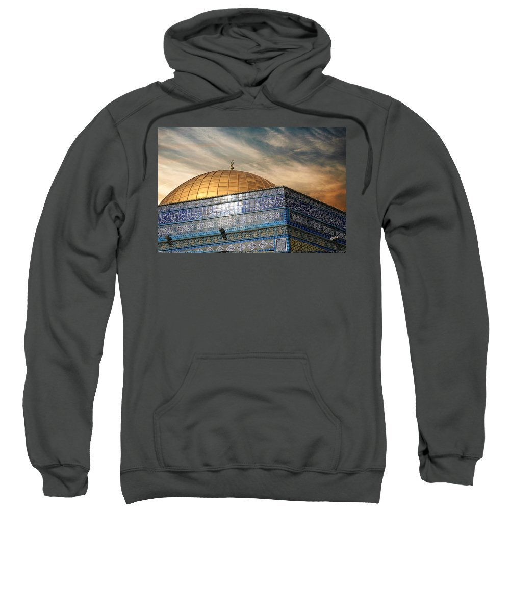Dome Sweatshirt featuring the photograph Jerusalem - Dome Of The Rock Sky by Munir Alawi