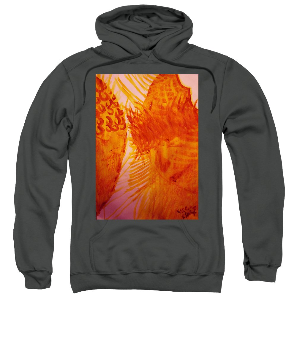 Jesus Sweatshirt featuring the painting Jesus On Calvary Meets His Mother Mary by Gloria Ssali