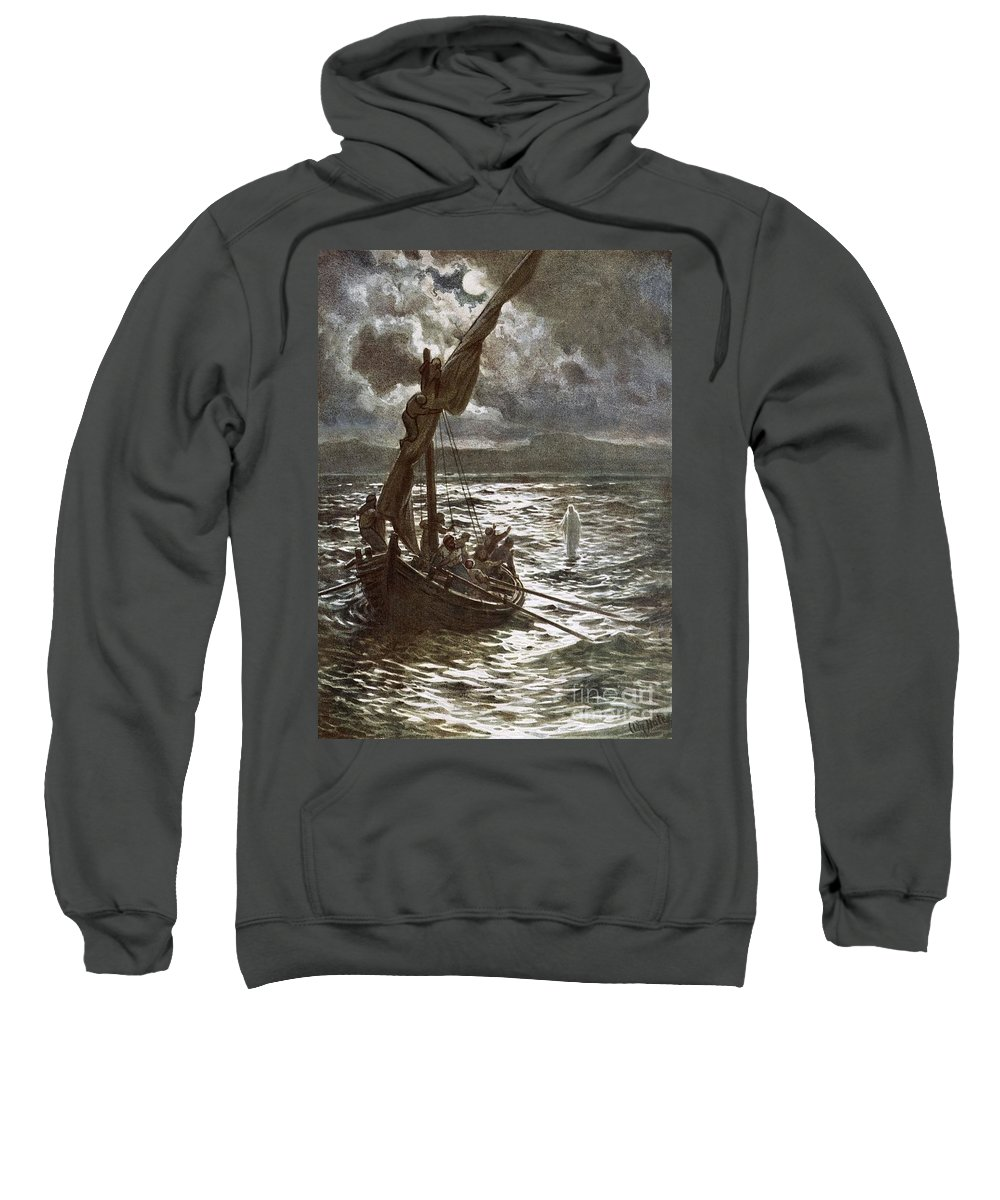 Bible; Jesus Christ; Walking On The Sea; Walking On Water; Sea Of Galilee; Boat; Sailing; Overtaking His Disciples Sweatshirt featuring the painting Jesus Walking Upon The Sea by William Brassey Hole