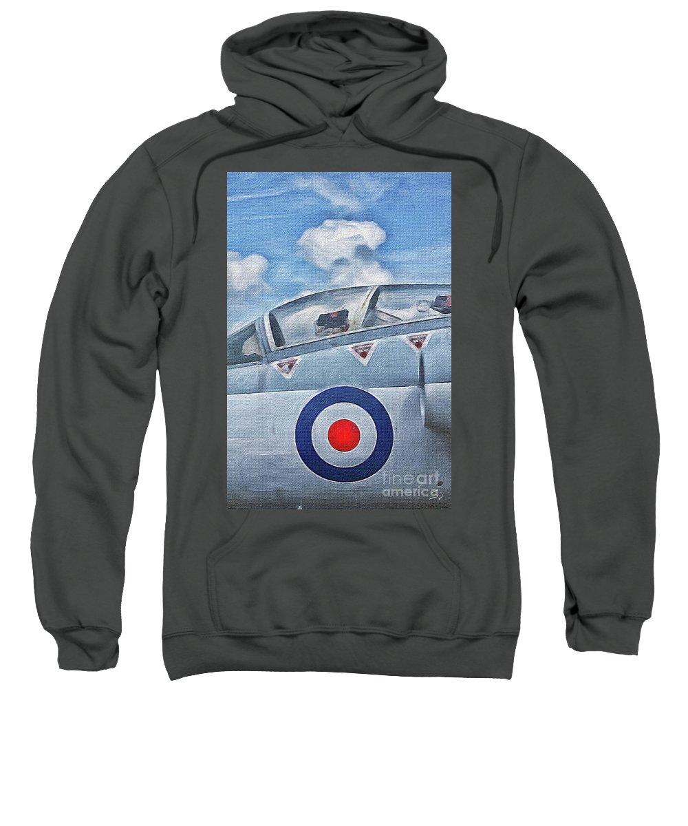 Fighter Sweatshirt featuring the painting Jet Fighter By John Springfield by John Springfield