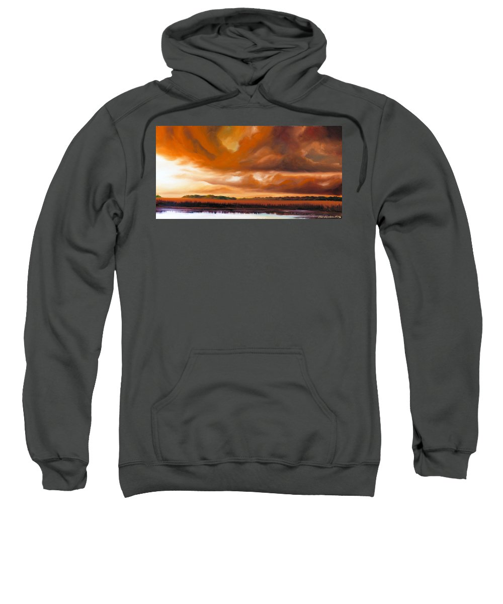 Clouds Sweatshirt featuring the painting Jetties On The Shore by James Christopher Hill