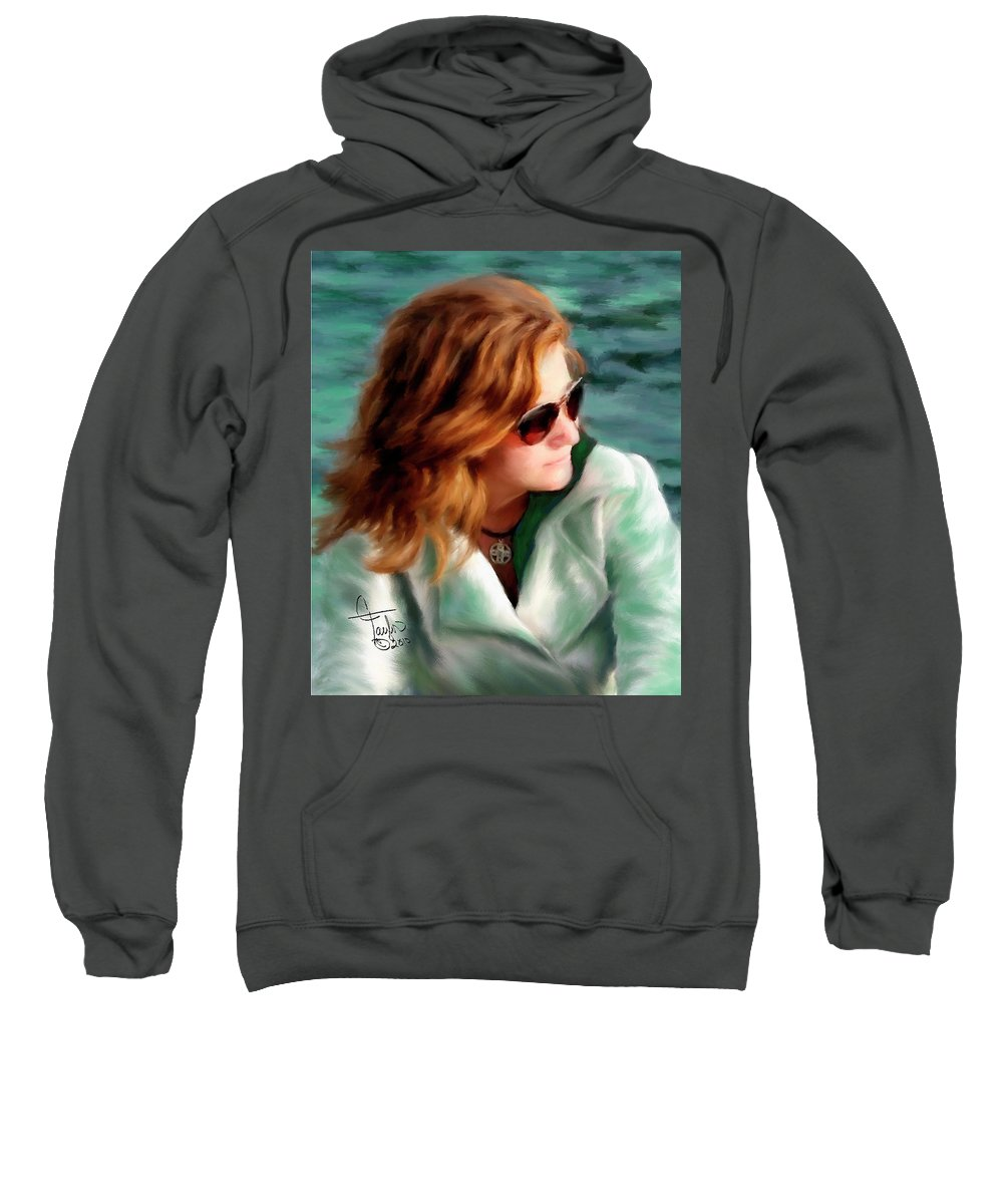 Red Head Sweatshirt featuring the painting Jewel Of Contemplation by Colleen Taylor