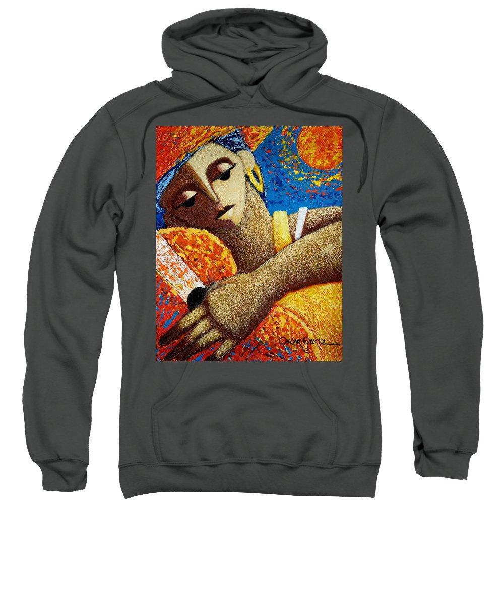Puerto Rico Sweatshirt featuring the painting Jibara y Sol by Oscar Ortiz