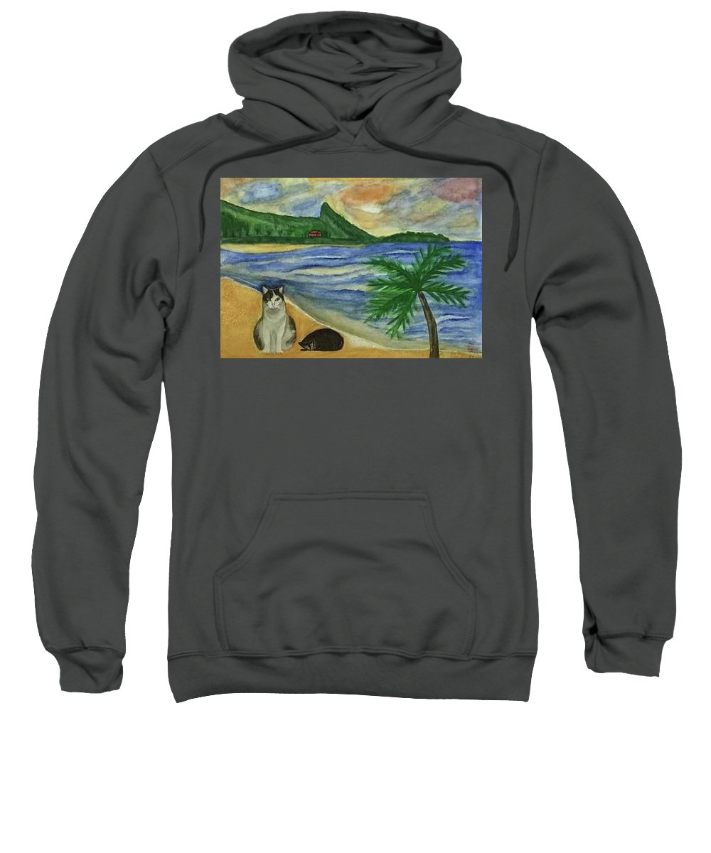 Cat Sweatshirt featuring the painting Jimmy And Jessie At Beach by Lei Wen