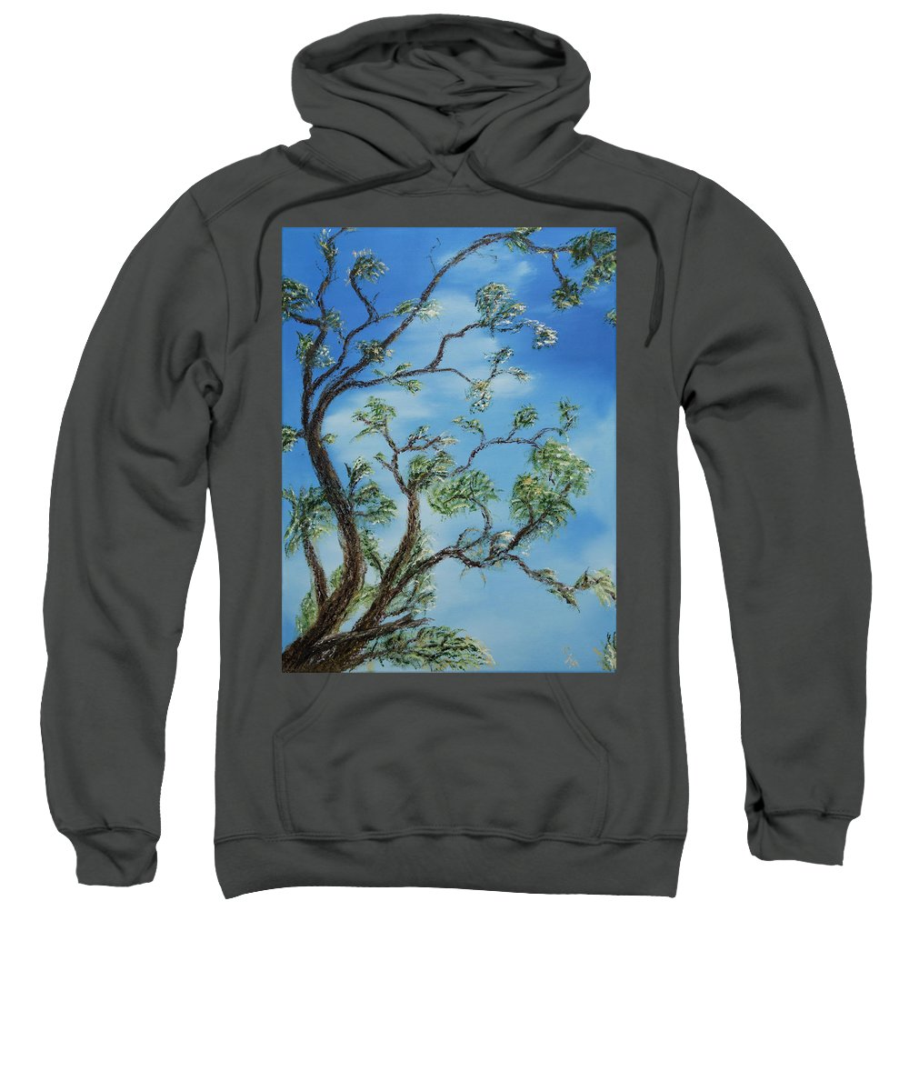 Stephen Daddona Sweatshirt featuring the painting Jim's Tree by Stephen Daddona