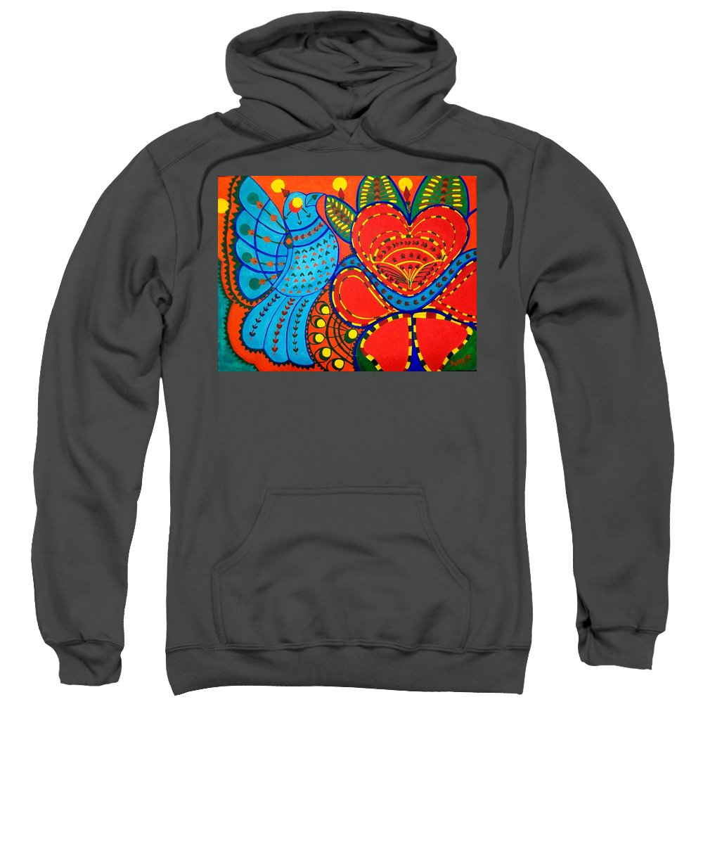 Contemporary Folk Sweatshirt featuring the painting Jinga Bird - Jinga Bird Series by Fareeha Khawaja