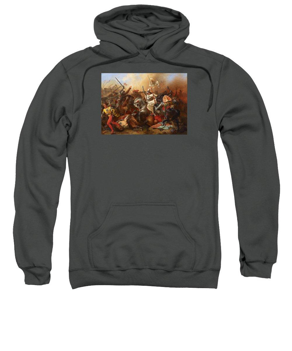 August Gustav Lasinsky Sweatshirt featuring the painting Joan Of Arc In The Battle by August Gustav Lasinsky