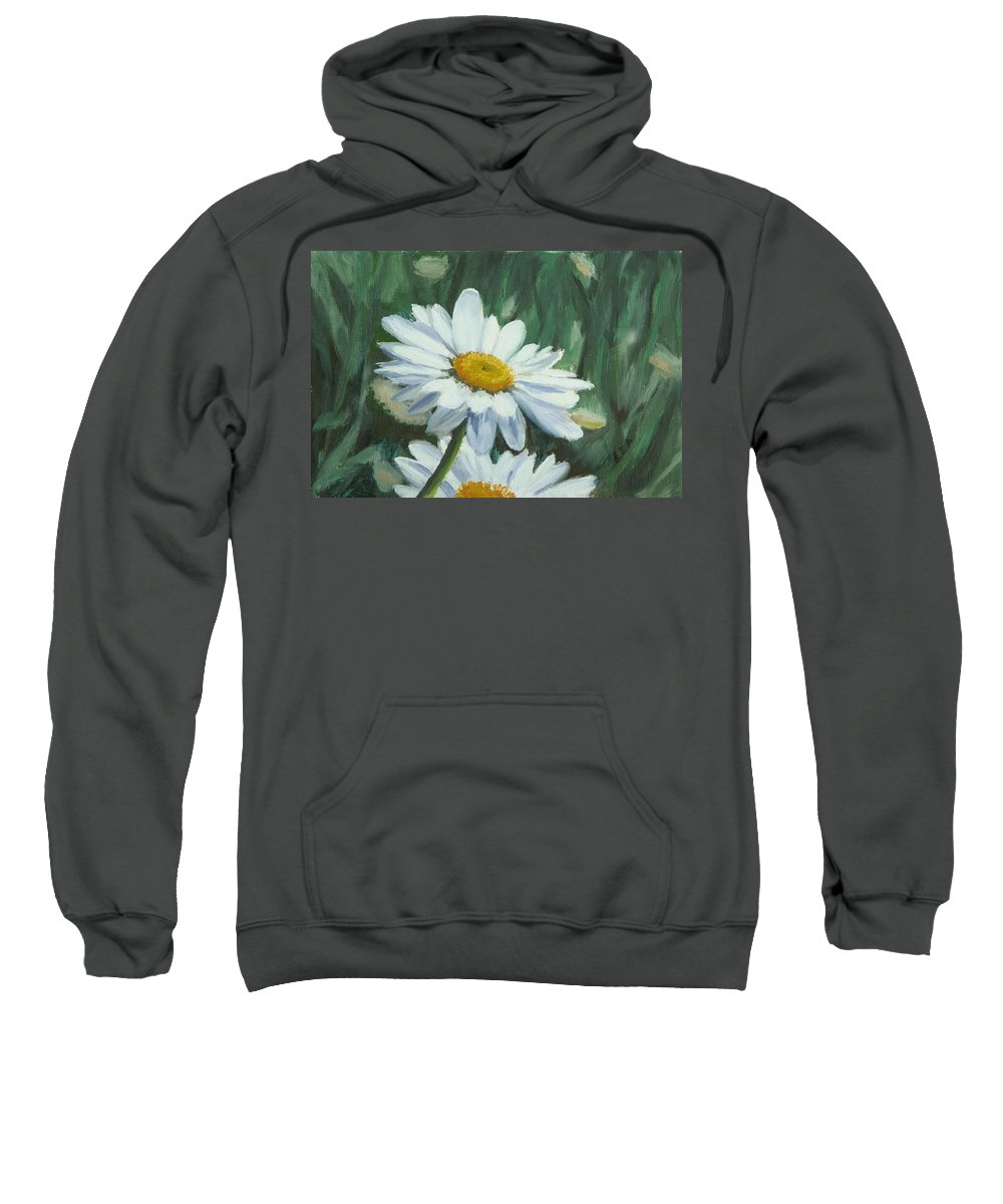 Daisy Sweatshirt featuring the painting Joe's Daisies by Lea Novak