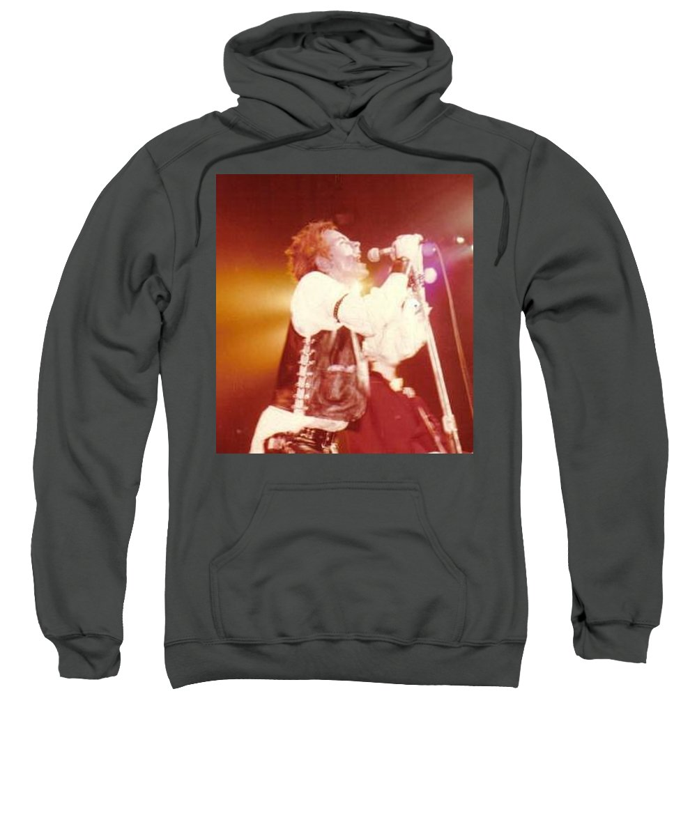 John Rotten-1978 Copyrighted Dawn Wirth Sweatshirt featuring the photograph John Rotten-1978 In San Francisco  by Dawn Wirth