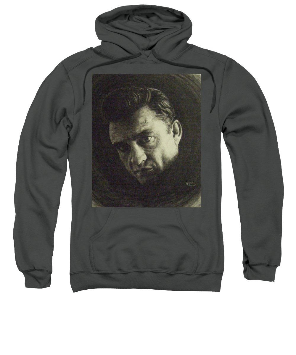 Johnny Cash Sweatshirt featuring the drawing Johnny Cash by Cynthia Campbell