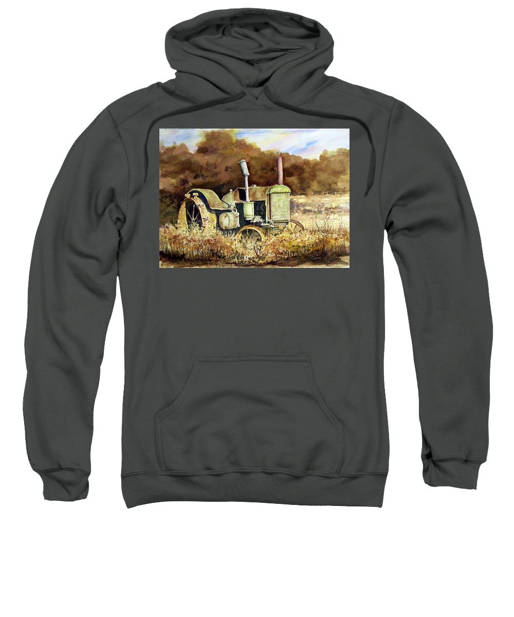Tractor Sweatshirt featuring the painting Johnny Popper by Sam Sidders