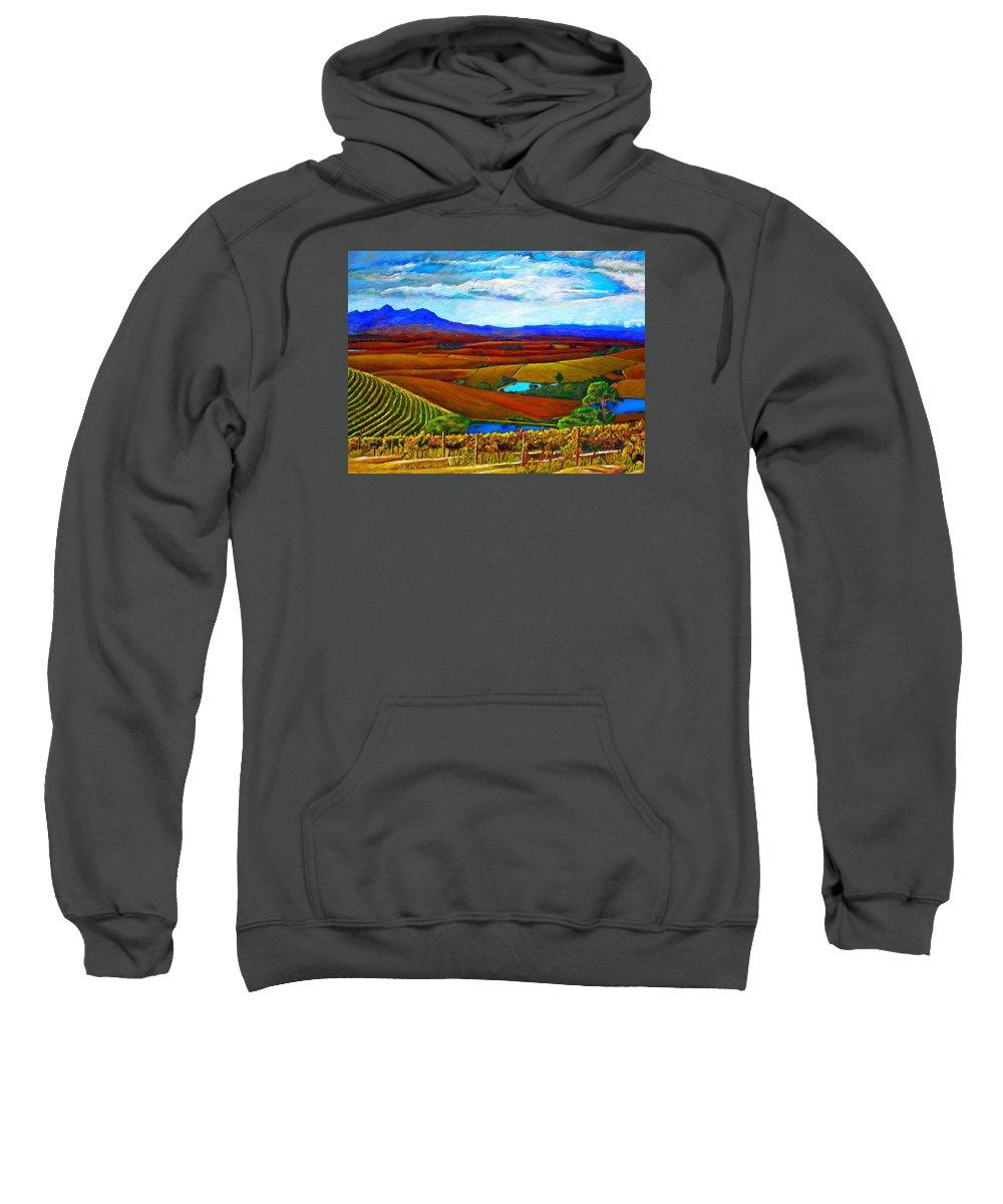 Vineyard Sweatshirt featuring the painting Jordan Vineyard by Michael Durst