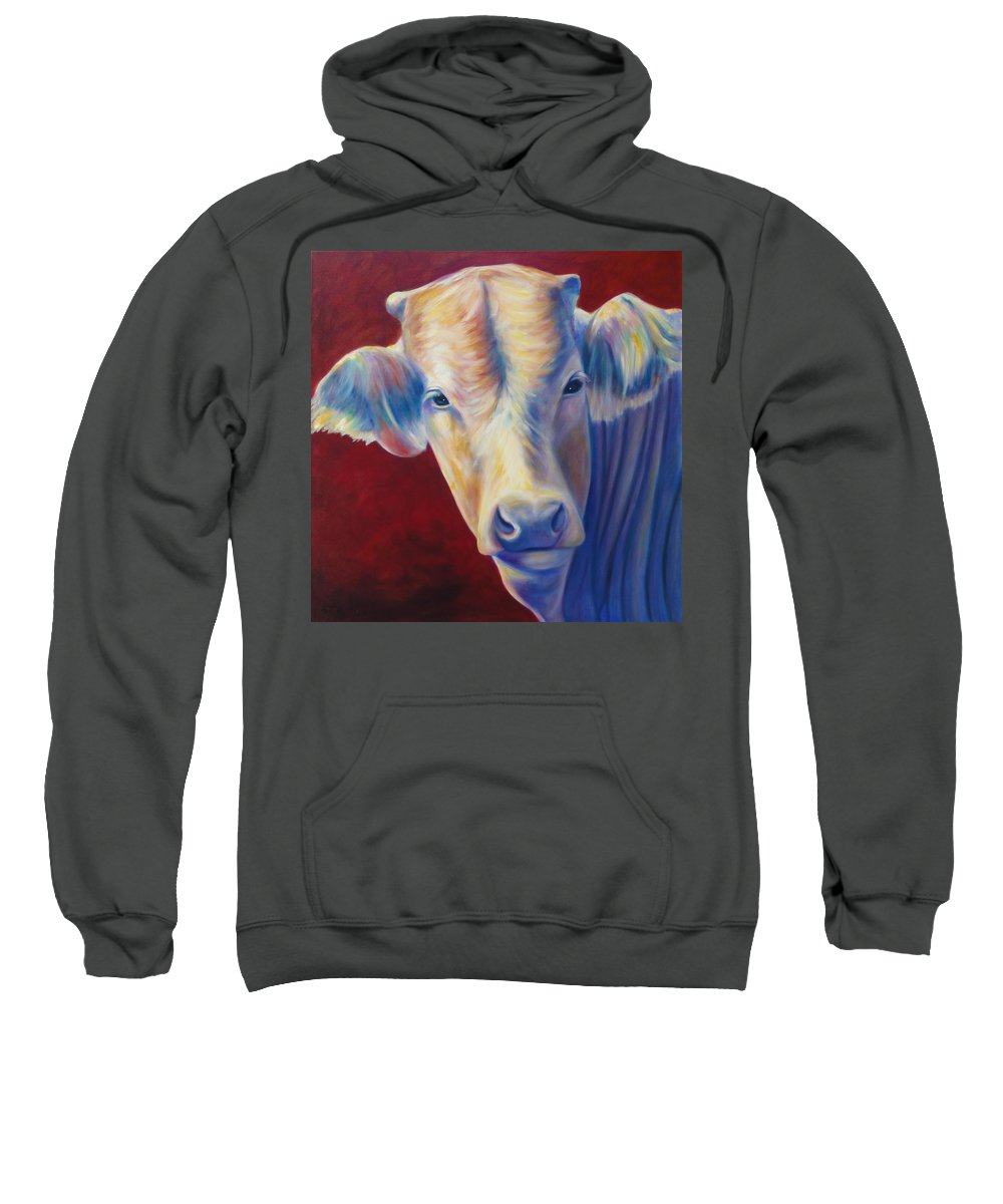 Bull Sweatshirt featuring the painting Jorge by Shannon Grissom