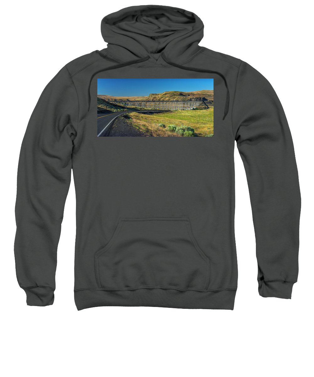 Agriculture Sweatshirt featuring the photograph Joso High Bridge Over The Snake River Wa 1x2 Ratio Dsc043632415 by Greg Kluempers