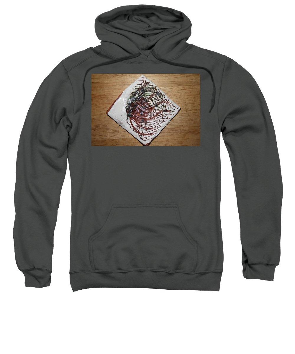 Jesus Sweatshirt featuring the ceramic art Journeys 6 - Tile by Gloria Ssali