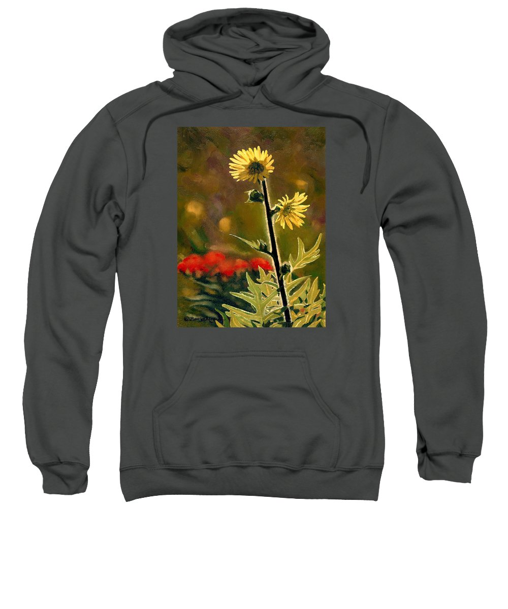 Prairie Flowers Sweatshirt featuring the painting July Afternoon-compass Plant by Bruce Morrison