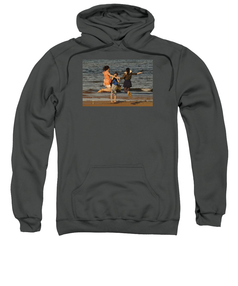 Jump Sweatshirt featuring the photograph Jumping For Joy by Adrian Wale