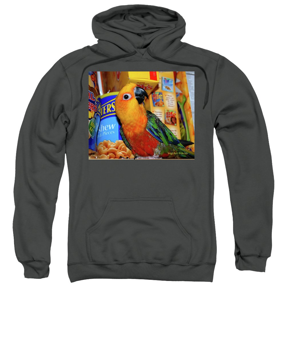 Crayola Sweatshirt featuring the digital art Junk Food Junkie Caught by DigiArt Diaries by Vicky B Fuller