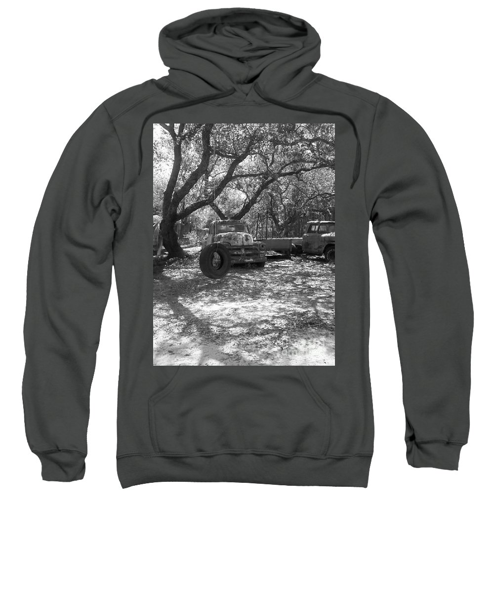 Black And White Sweatshirt featuring the photograph Junk Yard Dog by Michelle Powell