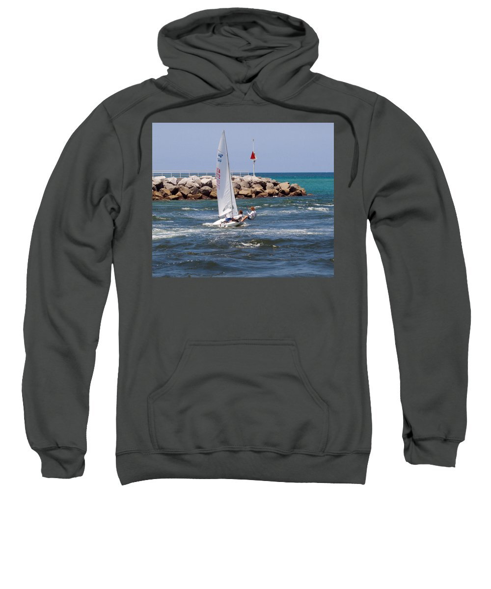Florida; Jupiter; Inlet; Loxahatchee; River; Beach; Shore; Coast; Sand; Sandy; Ocean; Sea; Atlantic; Sweatshirt featuring the photograph Jupiter Inlet In Florida by Allan Hughes