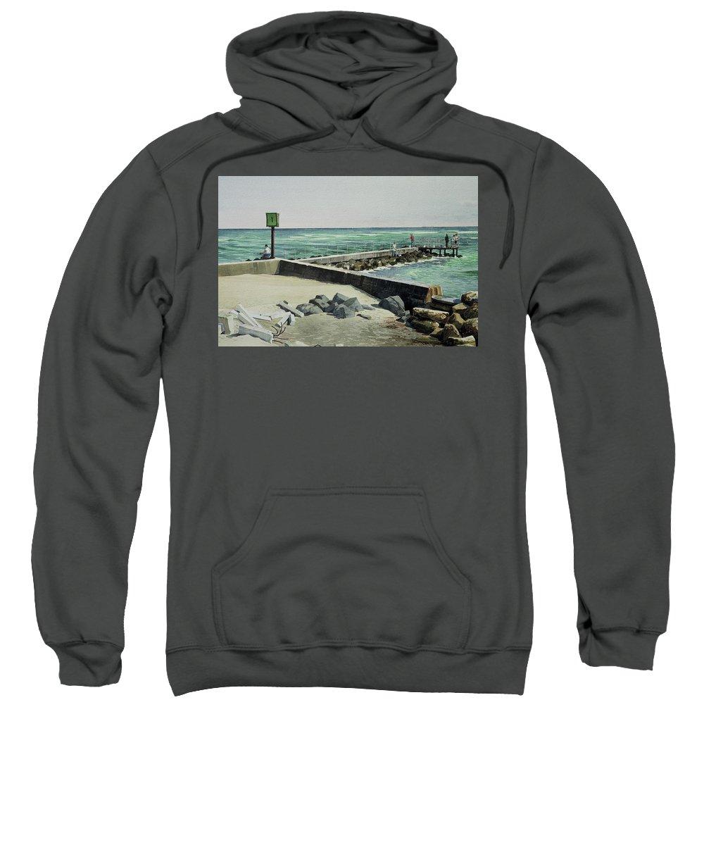 Marine Marker Sweatshirt featuring the painting Jupiter Inlet Marine Marker One by Harry McVay