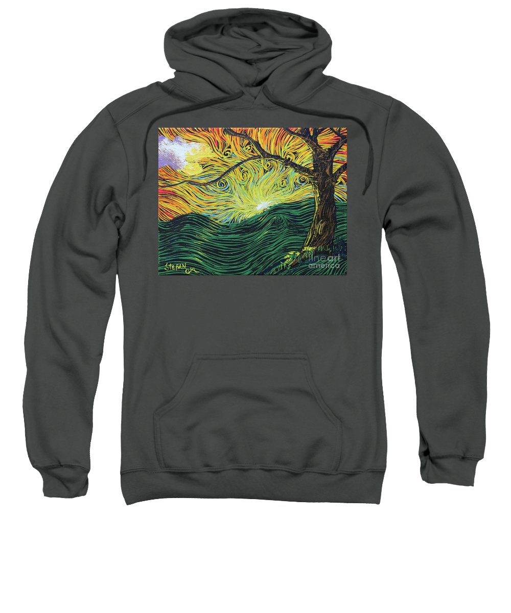 Squiggles Sweatshirt featuring the painting Just Over The Hill Too by Stefan Duncan